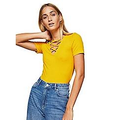 Miss Selfridge - Ochre short sleeves lattice top