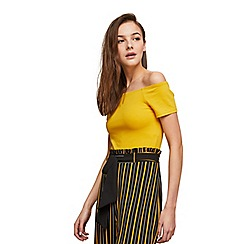 Miss Selfridge - Ochre bardot crop top