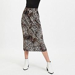 Miss Selfridge - Multi Colour Leopard Print Plisse Midi Skirt
