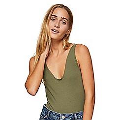 Miss Selfridge - Khaki voop neck bodysuit