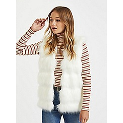 Miss Selfridge - Ivory faux fur knitted gilet