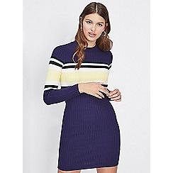 Miss Selfridge - Navy block striped rib knitted dress
