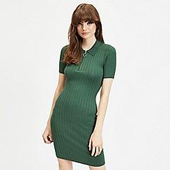 Miss Selfridge - Green zip polo knitted dress