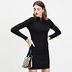 Miss Selfridge - Black zip funnel neck knitted dress