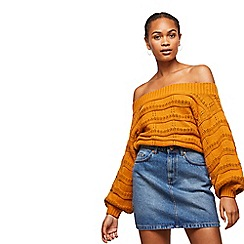 48e227d46991 Miss Selfridge - Rust pointelle stitch bardot jumper