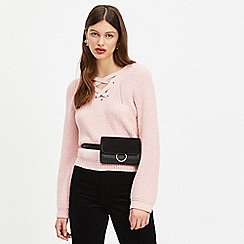 Miss Selfridge - Pale pink lattice front knitted hoodie