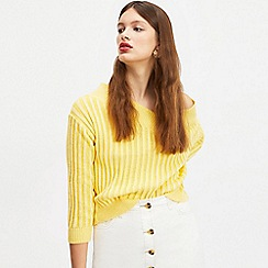 Miss Selfridge - Yellow plaited ribbed bardot knitted jumper