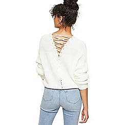 Miss Selfridge - Cream cable lattice back knitted jumper