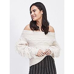 Miss Selfridge - Fringe cable bardot knitted jumper