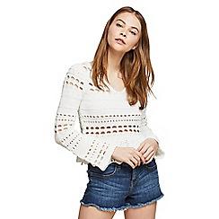 Miss Selfridge - White lattice back crochet top