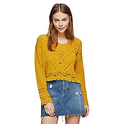 Miss Selfridge - Ochre open knitted summer top