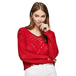 Miss Selfridge - Red open knitted summer top