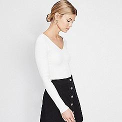 Miss Selfridge - Cream lace back ribbed top