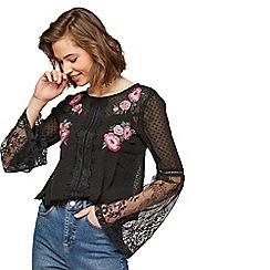 Miss Selfridge - Black embroidered flute sleeve blouse