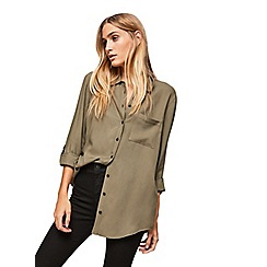 Miss Selfridge - Khaki split shirt