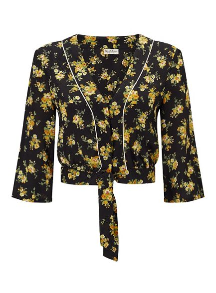 print pyjama Selfridge top Miss floral Orange cropped qxt7w6O