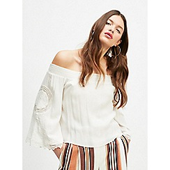 Miss Selfridge - Ivory Cutwork Sleeve Bardot Top