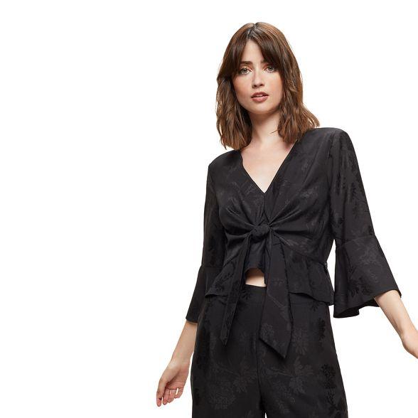 blouse front Selfridge Miss tie jacquard Black Txqzn7CwPH