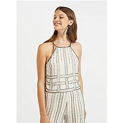 9de0a6aa66e77 Miss Selfridge - 90 s embellished striped camisole top
