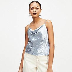 6090d9eff68e3 Miss Selfridge - Blue satin cowl neck camisole top