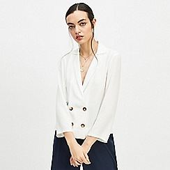 Miss Selfridge - Ivory double breasted collar wrap blouse