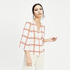 Miss Selfridge - Rust check tie wrap blouse