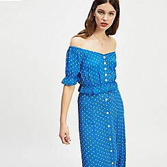 Miss Selfridge - Blue pin spot cropped button bardot top