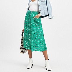 Miss Selfridge - Green spotted pocket midi skirt