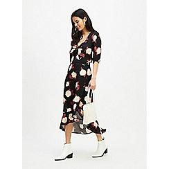 Miss Selfridge - Black Spun Floral Print Midi Skirt e51c631c4