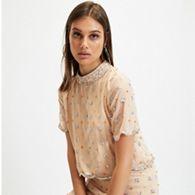 906c270a24a43 Miss Selfridge - Peach Beaded Scallop Funnel T-Shirt