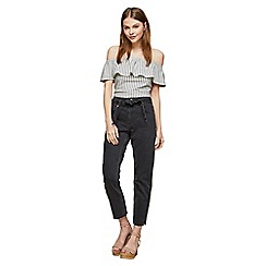 Miss Selfridge - Black belted mom jeans