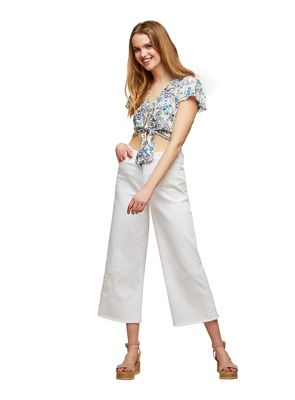 Miss Selfridge   White Wide Leg Cropped Jeans by Miss Selfridge