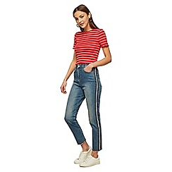 Miss Selfridge - Mom high waist slim fit light blue side striped jeans