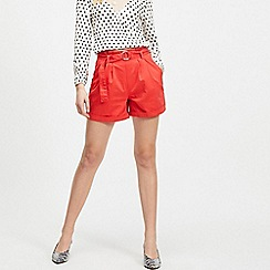 Miss Selfridge - Red Belted Twill Shorts