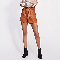 Miss Selfridge - Rust polyurethane paperbag shorts