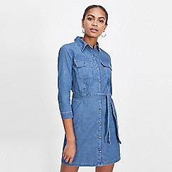Miss Selfridge - Denim button through shirt dress
