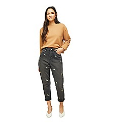 Miss Selfridge - Black ditsy embroidered mom jeans