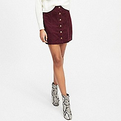 Miss Selfridge - Burgundy mini cord a-line skirt
