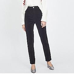 Miss Selfridge - Steffi super high waist black velvet jeans