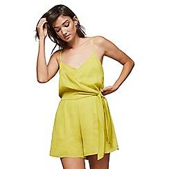 360a5fc07b Miss Selfridge - Yellow drape front playsuit