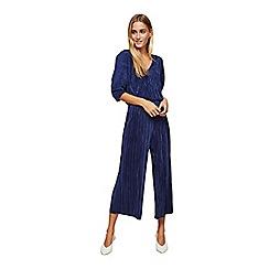 Miss Selfridge - Navy batwing plisse jumpsuit