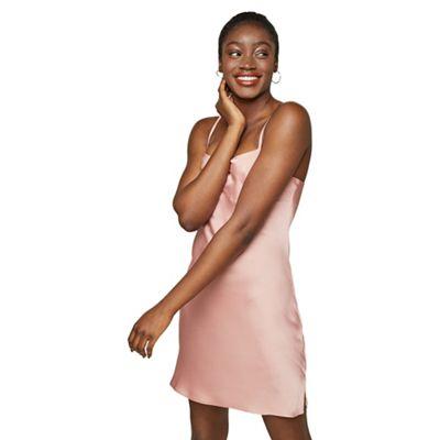 be981b0d788 Miss Selfridge Blush satin bubble mini slip dress