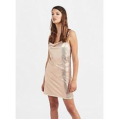 Miss Selfridge - Gold metallic cowl neck slip dress
