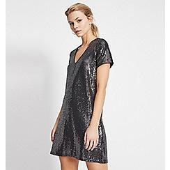 Miss Selfridge - Gunmetal sequin t-shirt dress