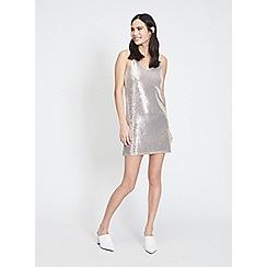 Miss Selfridge - Champagne sequin embellished mini slip dress