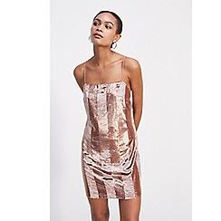 5d6683aa30d Miss Selfridge - Pink velvet striped mini dress