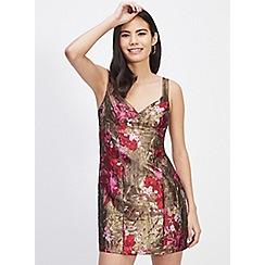 Miss Selfridge - Gold jacquard mini dress