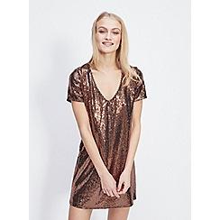 Miss Selfridge - Bronze sequin t-shirt dress