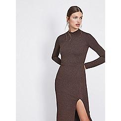 Miss Selfridge - Bronze high neck pencil dress