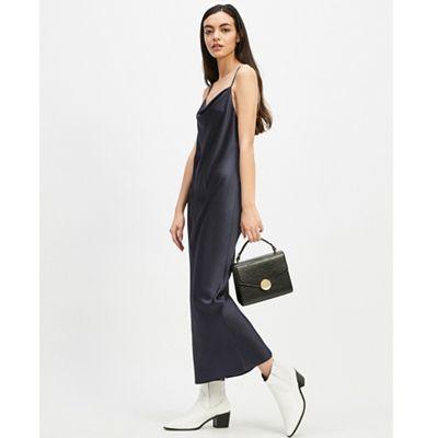 52e0a644106 Miss Selfridge - Navy cowl neck slip dress